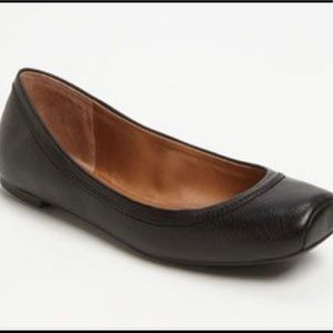 Lucky Brand Santana Flats Black Leather Square Toe